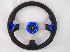 Blue Steering Wheel with Adapter for Ez-go POLARIS Ranger Club car Harley Kubota