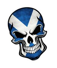 GOTHIC Biker SKULL & Scottish Saltire Scotland Flag vinyl car bike sticker Decal