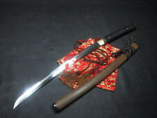 clay tempered folded steel plum blossom wakizashi katana Battle ready sharpened
