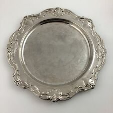 "Gorham Chantilly YC1344 15.5"" Scalloped Round Tray Cocktail Silver Plate Tea"