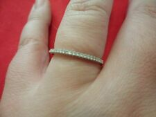 Pave Set White Diamond Anniversary Band Ring in 925 Sterling-Size 7-0.10 Carats