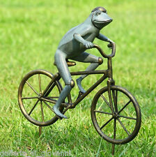 """27"""" Tall  Whimsical Bicycling Frog  Garden Statue Sculpture Outdoor"""