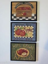Apple Signs Kitchen Wall Decor 3 country plaques farm house style red apples