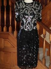 BEADED Gatsby Wiggle DRESS M Asymetrical Reveal Slv Scallops SWEELO Keyhole Back