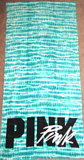 NWT VICTORIA'S SECRET PINK AQUA TEAL TIE DYE WHITE BLACK LOGO BEACH TOWEL