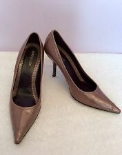 KURT GEIGER BROWN PATENT LEATHER  HEELS SIZE 5/38 WORN ONCE ONLY