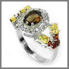 MULTI COLOUR SMOKY QUARTZ,TOPAZ,GARNET & CITRINE STERLING 925 SILVER RING 8