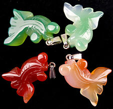 4pcs beautiful mixed agate carved goldfish pendant bead BS1318