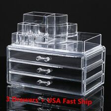 3 Drawers Makeup Cosmetics Clear Jewelry Organizer Acrylic Display Box Storage