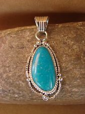 Navajo Indian Sterling Silver Turquoise Pendant! Handmade Southwestern
