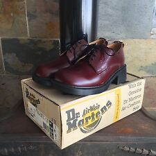 MADE IN ENGLAND | Dr Martens Burgundy Burnish Lace-up Shoes, Size UK 7