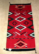 "Hand Woven Wool Throw Rug Southwestern Western 32""x 64"" Tapestry #332"