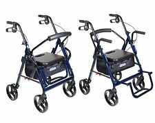 Duet Transport Chair Rollator Walker, Rolling, Blue Drive Medical 795B