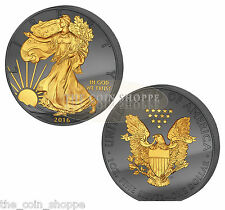 WALKING LIBERTY 30TH GOLDEN ENIGMA  - 2016 1 oz Silver Coin - RUTHENIUM 24K GOLD