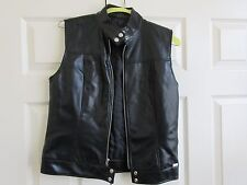 Guess ,  Black Leather  (100% Polyurethane) , Ladies Fitted Vest , Size Large