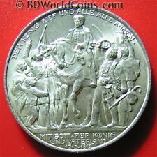 PRUSSIA 1913 ZWEI 2 MARK SILVER XF DETAILS! NAPOLEON AT LEIPZIG EAGLE SNAKE 28mm