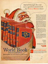 1953 vintage Christmas AD  WORLD BOOK ENCYCLOPEDIA  Art Santa Claus  082215