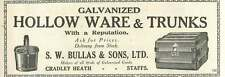 1926 Sw Bullas Cradley Heath Staffs Trunks Old Advert