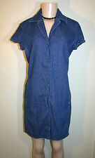 ESPRIT DE CORP Sz 5 6 Blue Jean Denim Snap Front Cap Sleeve Casual Dress