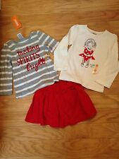 NWT Gymboree Red Corduroy Skirt Making Spirits Bright Top Twinkle Toes Lot 2T 3T