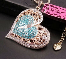 N046 New Betsey Johnson Sparkling Blue crystal heart-shaped pendant necklace
