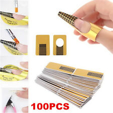 100Pcs Nail Art Tips Extension Forms Guide French Nail DIY Tool Acrylic UV Gel
