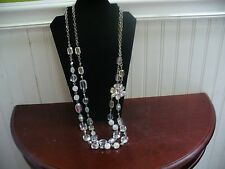 """Vintage NY 2 Strand Silvertone Metal Link Clear Plastic Bead 35.5"""" Necklace"""