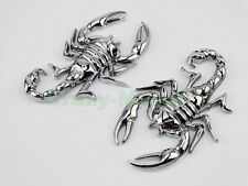 2X Motorcycle Chrome Metal 3D Scorpion Gas Tank Fairing Decal Sticker For Harley
