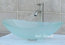 Bathroom Glass Vessel Sink Frosted Oval + Brush Nickel Faucet & Drain TB15FL3