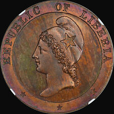 """""""KING"""" OF LIBERIAN 2C PIECES 1862 2 CENT NGC PF65 BN """"FINEST"""" AT """"PCGS & NGC"""""""