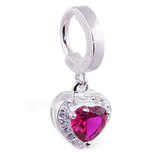 Silver Tummytoys Red Hot Heart Belly Button  Ring with Dangling Red CZ Heart