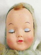 Vintage Plush Toy Doll Sleeping Baby Vinyl Face Blue Body To Restore 1960s As Is
