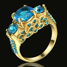 Jewelry Size7 Blue Topaz Fashion 18K yellow Gold Filled Anniversary Ring For Men