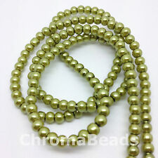 3mm Glass Faux Pearls strand - Olive Green (230+ pearl beads) jewellery making