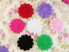 "70 Felt 1"" Flower 12 Petal Applique/Bow/Trim/Craft/Padded/Sewing/7 Colors H407"