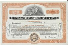 BROOKLYN AND QUEENS TRANSIT CORPORATION....1937 STOCK CERTIFICATE