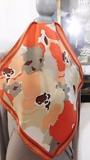 COLE HAAN Small Brick Orange Beige Multi Silk Scarf