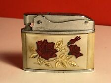 VINTAGE PRINCE CROWN LIGHTER RED ROSES MOTHER OF PEARL BACK ANTIQUE ENGLAND UK