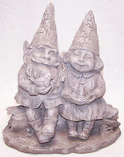 Boy and Girl Sitting Gnomes Statuary