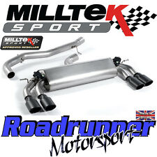 "Milltek Audi S3 8v 3-Door Exhaust 3"" Cat Back Non Resonated Black Ovals SSXAU396"
