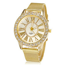 Men Women Stainless Steel Band Crystal Wrist Watches Quartz Watch Bracelet NEW