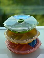 3 Lunch/Dinner Divided Food Microwave Plates+Lids Storage Containers in Colors