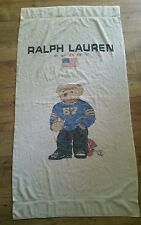 Vintage Polo Ralph Lauren Sport Teddy Bear   Beach Bath Towel Football 35 X 65