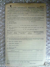 Form- Claim for disability Pension form- MPB 281 (WW2 Period)