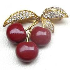 JOAN RIVERS Vintage Brooch Triple Red Cherries & Pave Ice Rhinestones