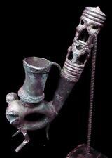 Antigua Figura De Tubo De Humo tribal bamileke bronce --- Camerún BN 34