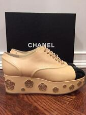 NIB Chanel 16P Beige Black CC Camellia Flower Wedge Lace Up Bootie Heel 41 $1550