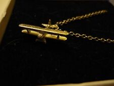 """Boeing-Stearman Model 75 c126 Pewter On A 20"""" Silver Plated Curb Chain Necklace"""