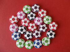 20 X ROUND FOOTBALL PATTERN WOOD MIXED COLOURS BUTTONS-SCRAP BOOKING - SEWING