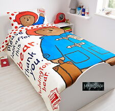 Paddington Bear Panel Single Bed Duvet Quilt Cover Set Brand New Gift